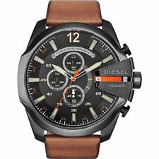 New Diesel Men's DZ4343 Mega Chief Gunmetal Brown Leather Watch