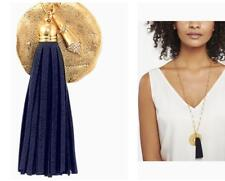 Fashion Women's Long Velvet Tassel + Hammer Disc +Arrowhead Pendent Necklace
