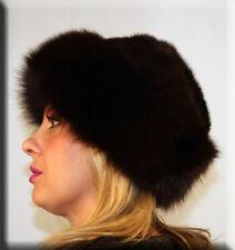 New Sable Brown Mink Fur Hat Sable Brown Fox Fur Trim - Efurs4less