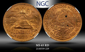 1973-Mo MEXICO 20 CENTAVOS NGC MS 65 RD #B