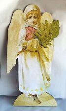 """Vintage Angel with Pine Tree large 33""""  Wood Diecut Standup Display Christmas"""