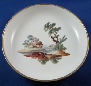 Antique Niderviller Porcelain Scenic Saucer Dish Porcelaine French Scene France