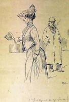 DAME. DESSIN. PROBABLE PREPARATOIRE POUR ESQUELLA DE LATORRATXA. ESPAGNE. XIX-XX