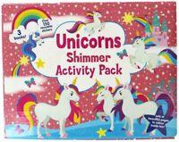 Unicorns Shimmer Activity Pack Colouring Sticker Books Kids Artist Pack Fun 3101