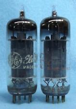 2-GE 6CG7 6FQ7 Vacuum Tubes Tested Silver Shield Gray Plates USA
