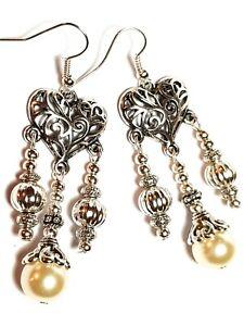 Long Silver Chandelier Ivory Pearl Earrings Glass Bead Drop Dangle Gypsy Hippy