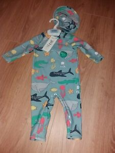 M&S Baby Boy Age 6-9 Months Blue UV Sun/Swimming Suit & Hat with Fishes/Sharks