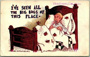 """1910s Steubenville, Ohio Comic Postcard """"I've Seen all the Bugs of This Place"""""""