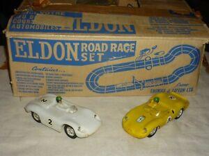 VINTAGE 60s ELDON ROAD RACE SET PORSCHE VS FERRARI W/BOX TESTED & WORKING