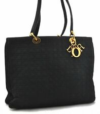 Authentic Christian Dior Lady Dior Cannage Tote Hand Bag Nylon Black A7971