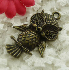 free ship 51 pieces bronze plated owl pendant 44x27mm #2017
