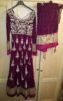 ASIAN PAKISTANI PLUM PINK WEDDING HEAVY DRESS SUIT SALWAR KAMEEZ SIZE 6 8 10 XS