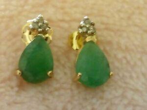 GENUINE EMERALD EARRINGS WITH REAL DIAMONDS 10K GOLD STUD EARRINGS GIFT