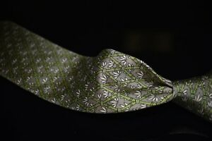 #1 MENS Hermes Made in France Taupe Greige Green Floral Lattice Silk Tie 7296 EA