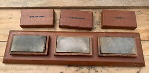 3pc Vintage Sharpening Stone Set Soft & Hard Arkansas + Washita - Wet Knife Tool
