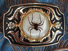New hand crafted fantôme araignée boucle de ceinture or/métal noir, western, goth