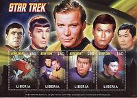 Liberia Star Trek Stamps 2008 MNH Kirk Shatner Spock Leonard Nimoy 4v M/S I