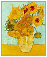 12 Sunflowers Green Background Vincent Van Gogh Counted Cross Stitch Pattern