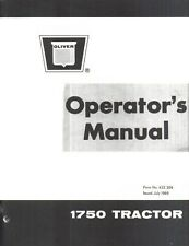 Oliver White 1750 Tractor Owners Operators Manual