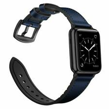 iWatch Band 42mm/44mm Series 4 3 2 1 Hybrid Sweatproof Genuine Leather Dark Blue