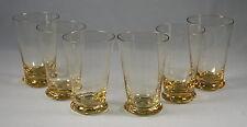 6 Swedish Crystal Gulli Gold 4oz Flat Tumbler Glasses - Mid Century