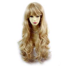 Long Beautiful Blonde Mix Wavy Layered Skin Top Ladies Wig From WIWIGS UK