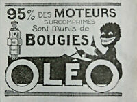 PUBLICITÉ DE PRESSE 1920 95% DES MOTEURS SURCOMPRIMÉS SONT MUNIS DE BOUGIES OLÉO
