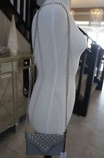 NEW JJ Winters Studded Leather Renee Chain Crossbody Mini Clutch Bag Grey CUTE