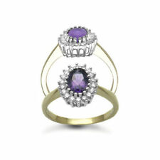 Cluster Yellow Gold Amethyst Fine Rings