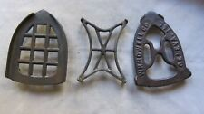 Lot of 3 Vintage Iron Trivets for Old Irons Nice Designs GC