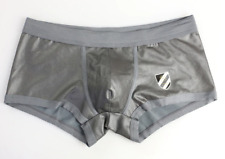 Men's Medium Brave Person Shiny Metallic Leather Like Silver Boxer Briefs Gay UK