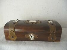 VICTORIAN DOMED TOP ROSEWOOD BOX BRASS AND BAKELITE