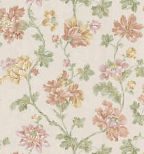 Large Floral tan beige Wallpaper vintage victorian w/ yellow red pink flowers