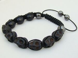 Gemstone  macrame  BLACK SKULL HEMATITE Beaded Adjustable Bracelet