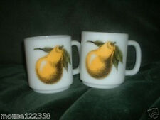Pair of Mugs or Cups Pear Fruit design Fire-King