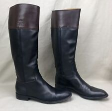 Authentic GUCCI Tall Riding Boots Flat Black Brown Leather Size 8 Classic