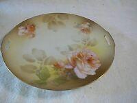 "Vintage R.S. Germany Handled 9 3/4"" Serving Plate Rose Floral Pattern, NICE"