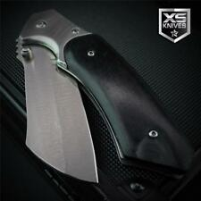 Pocket CLEAVER Tanto BLACK WOOD Handle Tactical Spring Assisted Pocket Knife 8""
