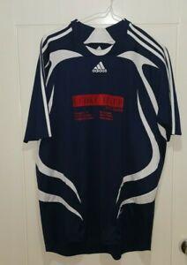 Mens Adidas Training Running Sport Gym Football T Shirt Navy / White 2XL