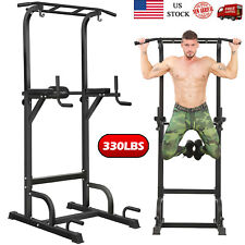 Adjustable Chin Pull Up Bar Power Tower Dip Station Home Gym Fitness Equipment