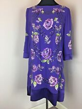 Monsoon Size 14 Purple Floral Embroidered Sequin 100% Silk Dress Christmas Party