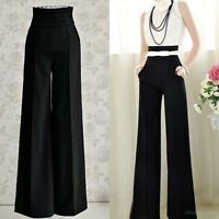 Spring Women Sexy High Waist Flare Wide Leg OL Office Long Pants Casual Trousers