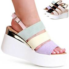 Zapatos Mujer Sandalias con Plataforma Tacón de Cuña Velours Tacones Tiras