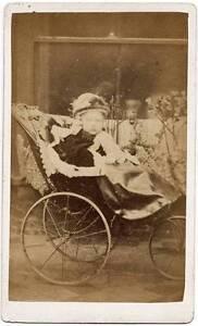 CDV Peterborough Little girl in baby pram Nice hat Vintage photo 1880c S180