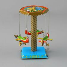 New Vintage Wind Up Toys Gift Fairground Carousel Airplane Planes Mechanical Tin