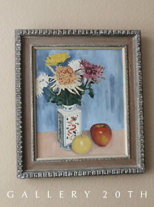 EPIC INTERIOR DECOR! MID CENTURY ORIG. OIL PAINTING! STILL LIFE ART VTG MODERN