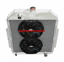 """FOR 48-52 Ford F1-F8 Truck w/Chevy L6/V8 3Row Aluminum Racing Radiator+10"""" Fan"""