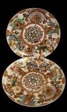 2 Antique Japanese Butterfly Kaga Kuni Oda Sei Handpainted Plate Dish 5.5� Mark