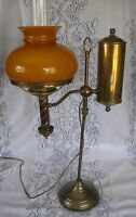 Victorian Antique Student brass lamp with amber glass shade