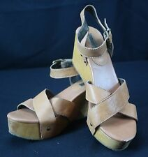 Women's Banana Republic Molly Leather & Wooden Wedge Sandal Shoes - Sz 8.5M